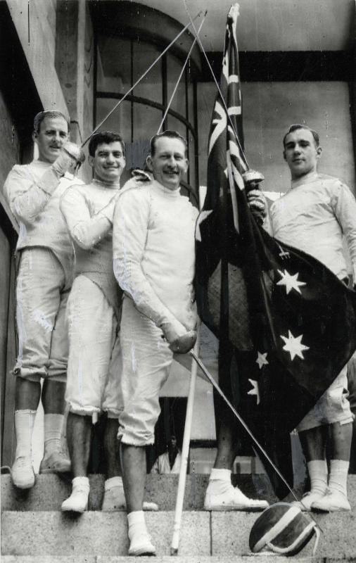 1964 fencing team L-R John Humphreys, David McKenzie (DH McKenzie) AM, Ivan Lund, Ian Bowditch