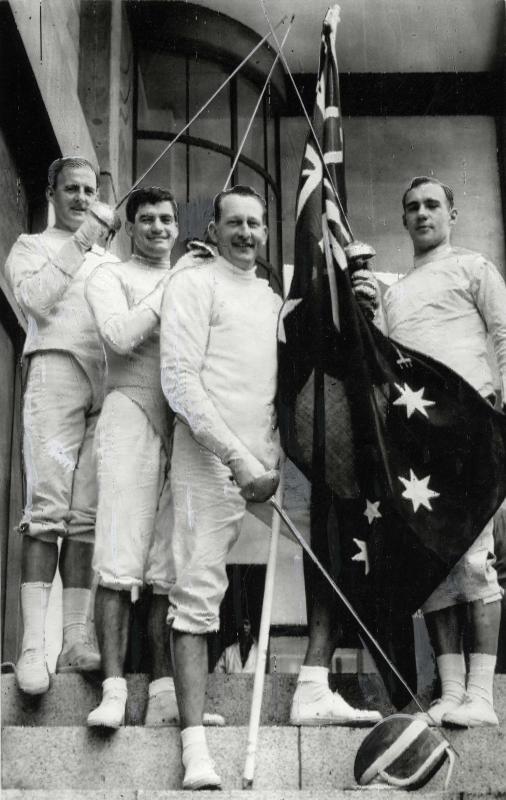 1964 fencing team L-R John Humphreys, David McKenzie (DH McKenzie) AM, Ivan Lund, Ian Bowditch